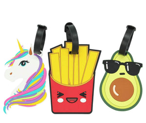 Unicorn, French Fries and Avocado Silicone Luggage Tags (3 Pcs)