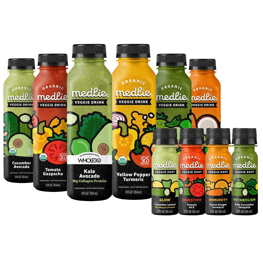 Medlie Organic Veggie Drinks and Shots Variety Pack (10 Pack)