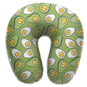 Avocado Cute Eggs Memory Foam Travel Neck Pillow