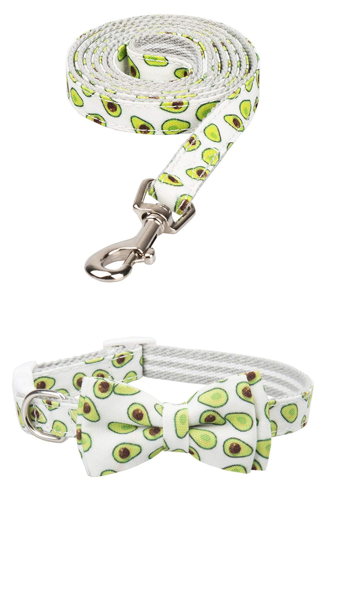 Gyapet Avocado Dog Collar Leash Bow Tie Set: Small