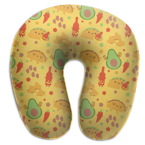 Avocado Spicy Mexican Memory Foam Travel Neck Pillow