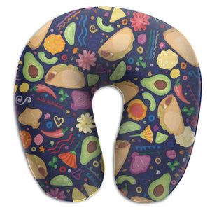 Avocado Mexican Fiesta Memory Foam Travel Neck Pillow