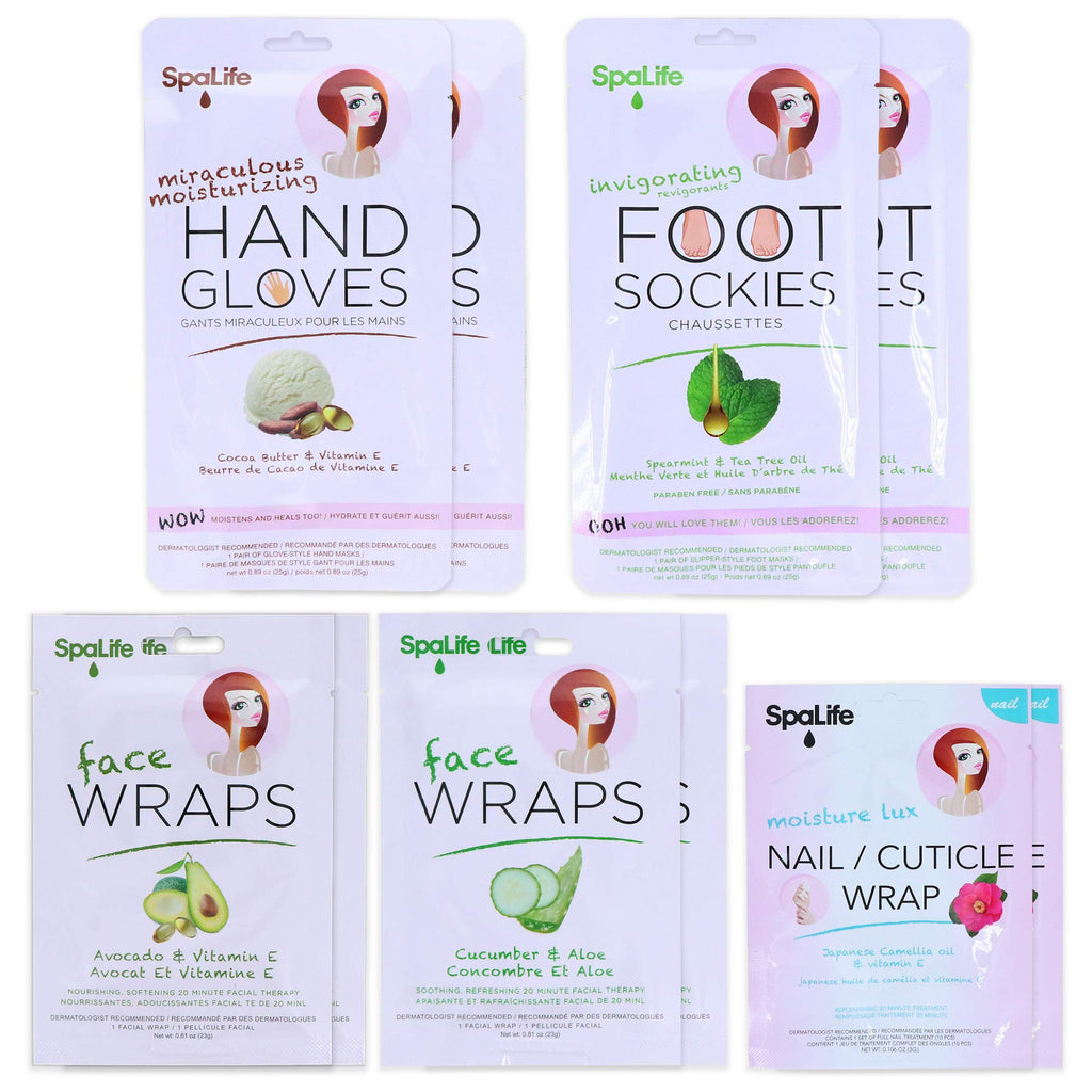 SpaLife Avocado and Cucumber Face, Hand, Foot, Nail Spa Treatment Set