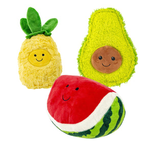 Assorted Fruit Squeakers Plush Dog Toys: 3 Pack
