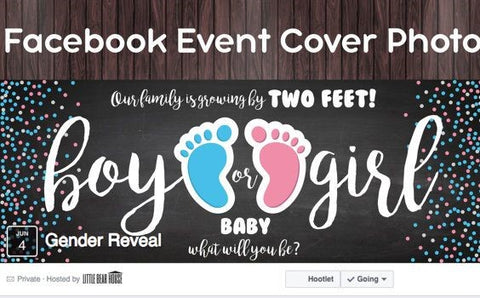 Photo example of a Facebook event cover photo for a gender reveal party.