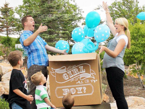 "Picture of couple opening up a box with ""boy or girl"" written on it and blue balloons coming out."