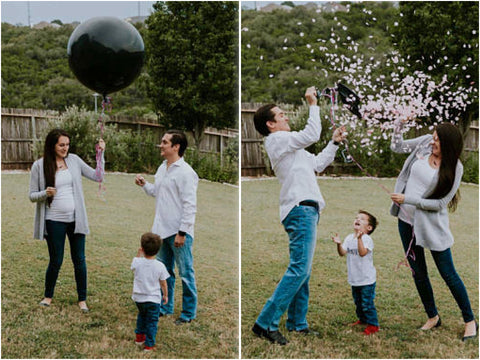 Collage of couple posing with a balloon full of confetti, then popping it to reveal pink confetti.