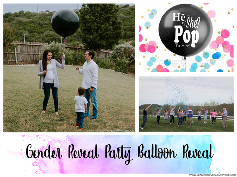 "collage of gender reveal images. With the words ""gender reveal party balloon reveal."""