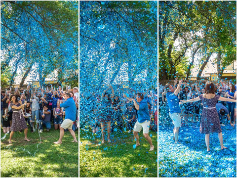 collage of couple posing with friends and family outside with blue confetti everywhere.