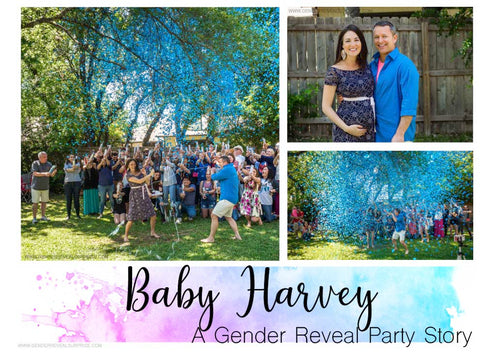 Collage of Baby Harvey gender reveal party