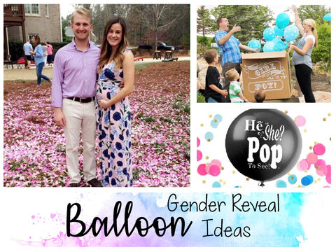 Collage of gender reveal balloon ideas.