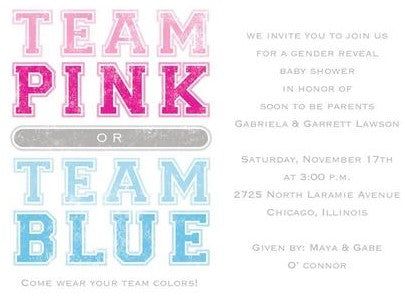 An example of a gender reveal invite