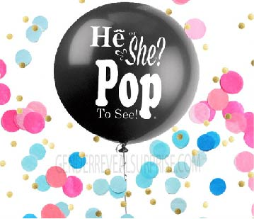 "Image of a ""he or she"" gender reveal party prop balloon."