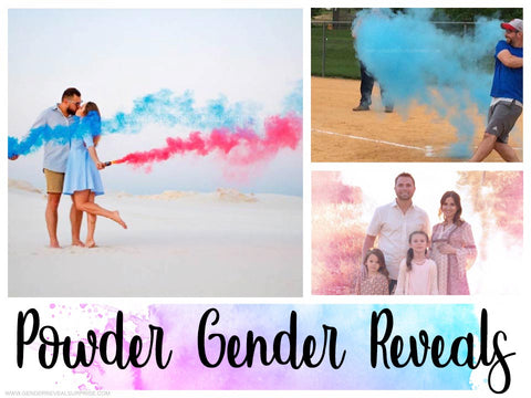 Collage of gender reveal images using pink or blue smoke.