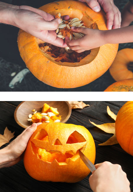 Picture collage of cleaning out a pumpkin and carving a face into it.