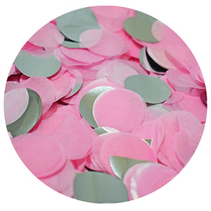 Pink and silver confetti that bursts out of our gender reveal surprise balloon when it is popped