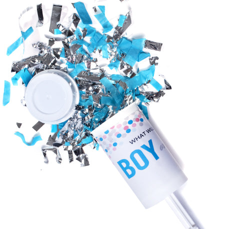 Gender Reveal Blue & Silver Push Confetti