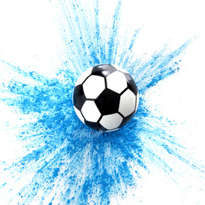 Shoot a blue gender reveal soccer ball into a net for a GOAL to reveal you are having a boy