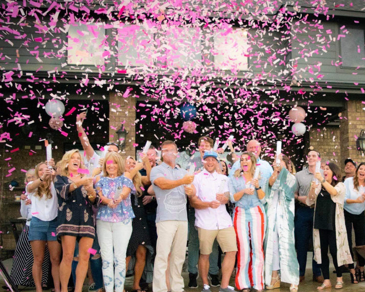 Family and Guests blasts pink confetti cannons into the air revealing the gender