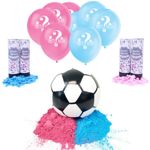 Image of Gender Reveal Soccer Ball Party Package. Showing fill-able soccer ball, balloons, and confetti cannons.