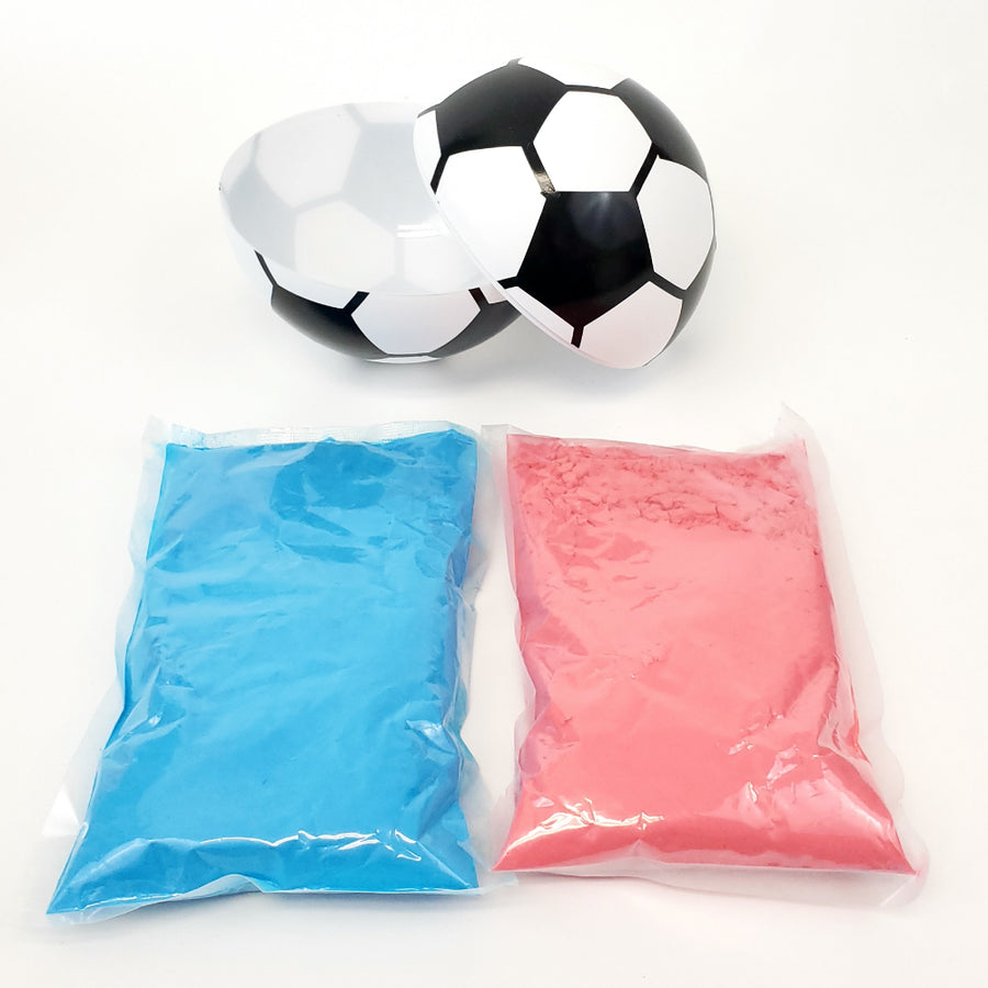 Picture of fill-able soccer ball prop with blue or pink powder.