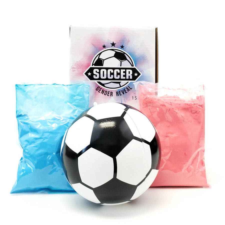 Gender Reveal Soccer Ball Prop with a bag of blue or pink powder.