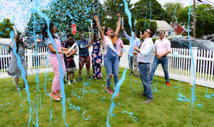 "18"" Blue Gender Reveal Streamer & Confetti Cannons"