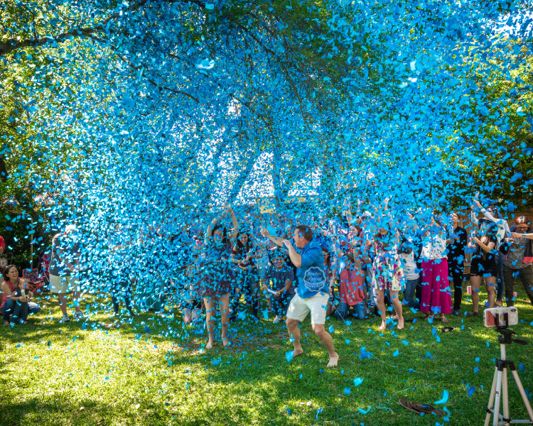 blue biodegradable confetti cannon gender reveal
