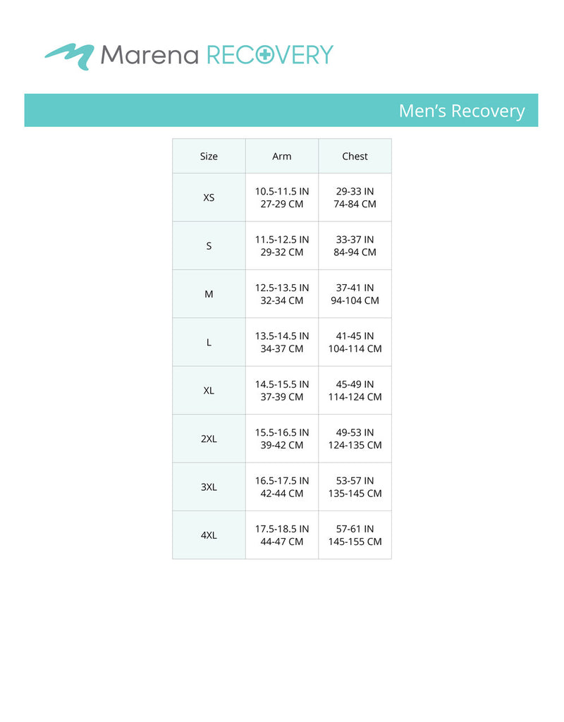 Men's Recovery- arm, chest size chart
