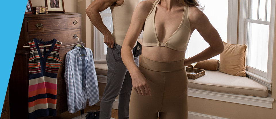 A man and woman getting dressed in their Marena Shape compression shapewear