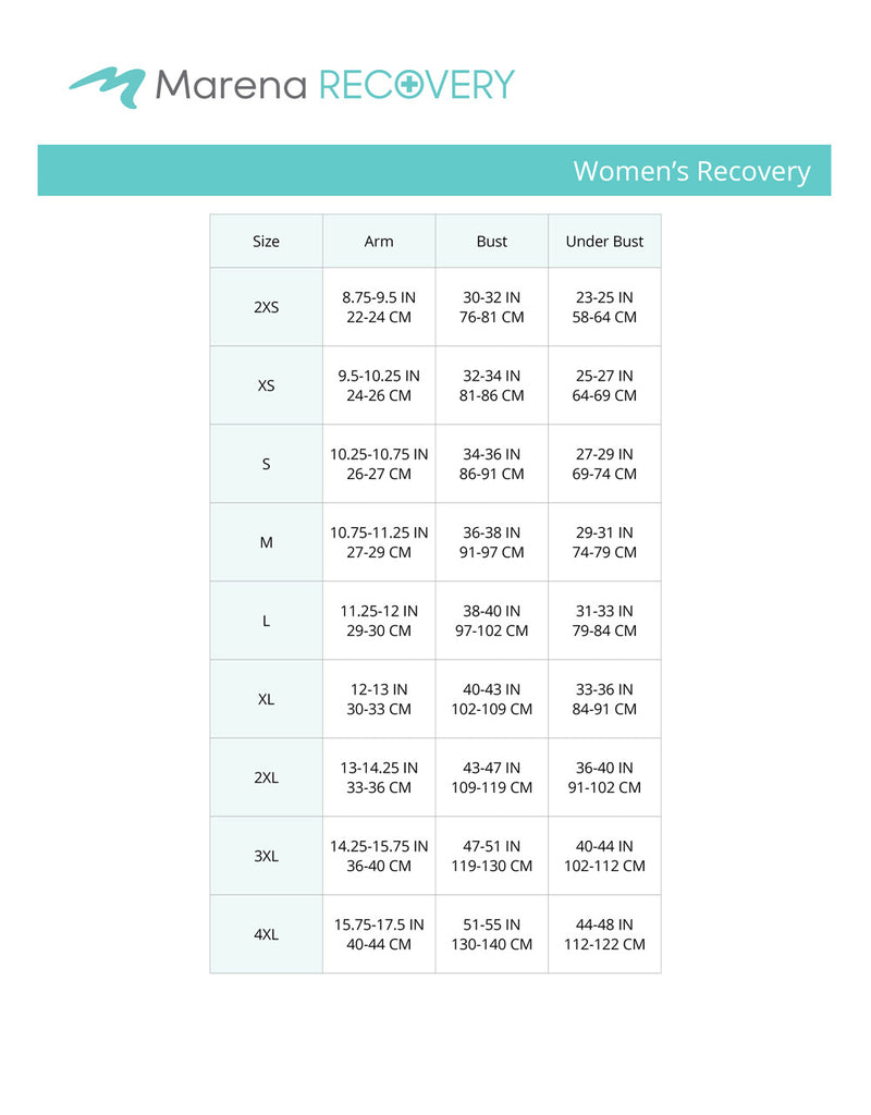 Women's recovery bust-underbust-arm size chart