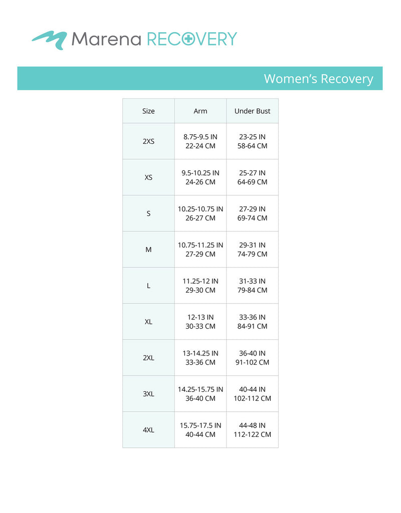 Women's recovery arm underbust size chart