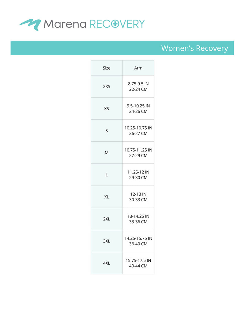 Women's Recovery Arm Size chart