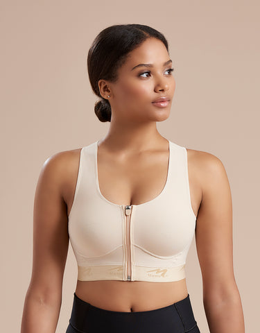 Marena Recovery 804ZP bra front view shown with zipper closure.