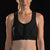 Marena Sport style 100Z compression sport bra close up front view, in black with black threading