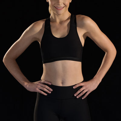 Marena Sport style 104 compression sports bra with criss-cross straps, front view in black
