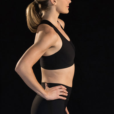 Marena Sport style 104 compression sports bra with criss-cross straps, side view in black