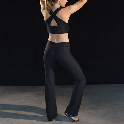 Marena Sport style 202 Compression yoga pants, back pose view in black