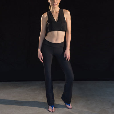 Marena Sport style 202 Compression yoga pants, full front pose view in black