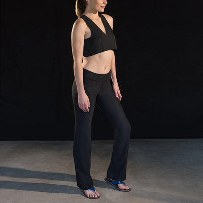 Marena Sport 202 Compression yoga pants full side pose view, in black