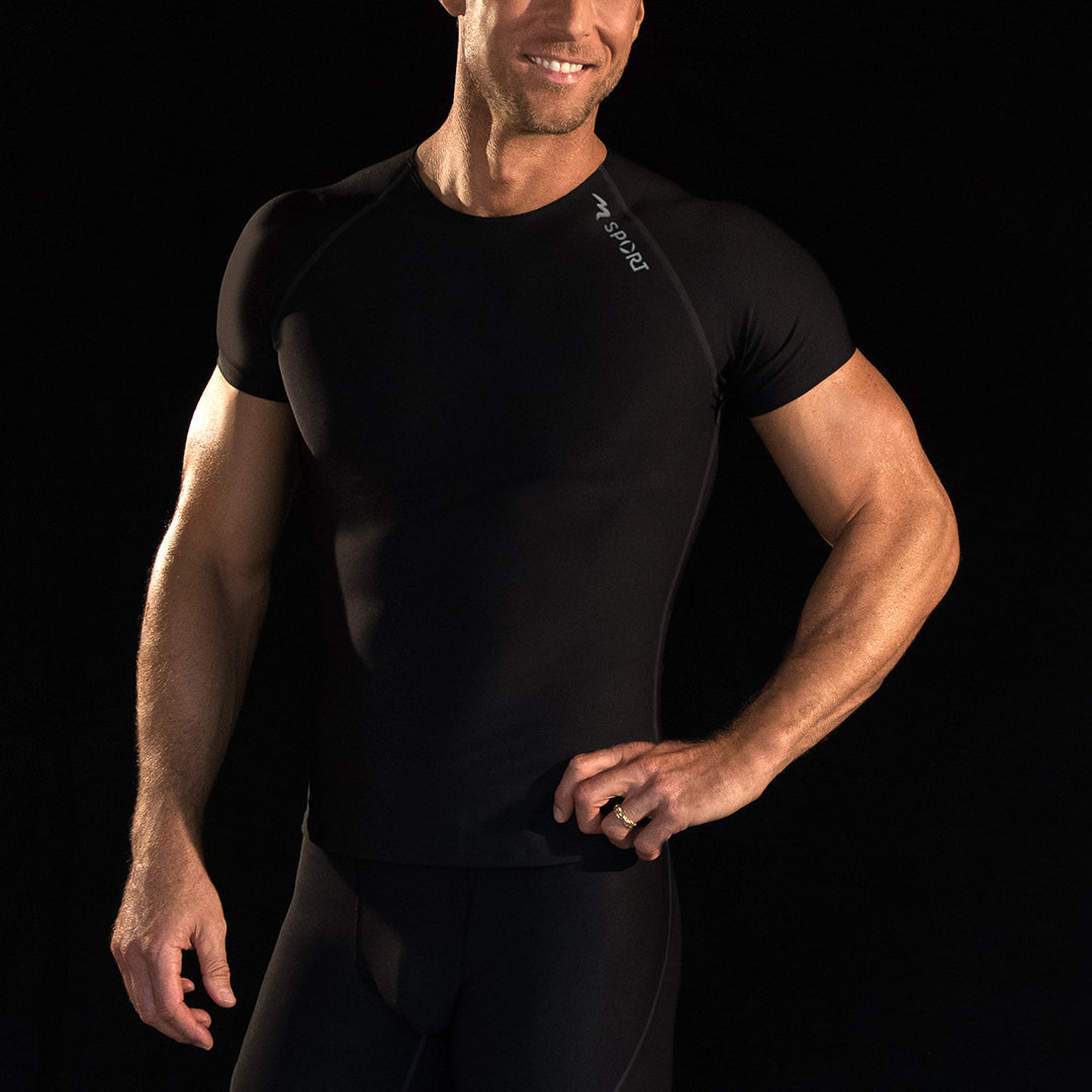 Marena Sport style 502 Short sleeve shirt close-up front view, in black fabric with black threading