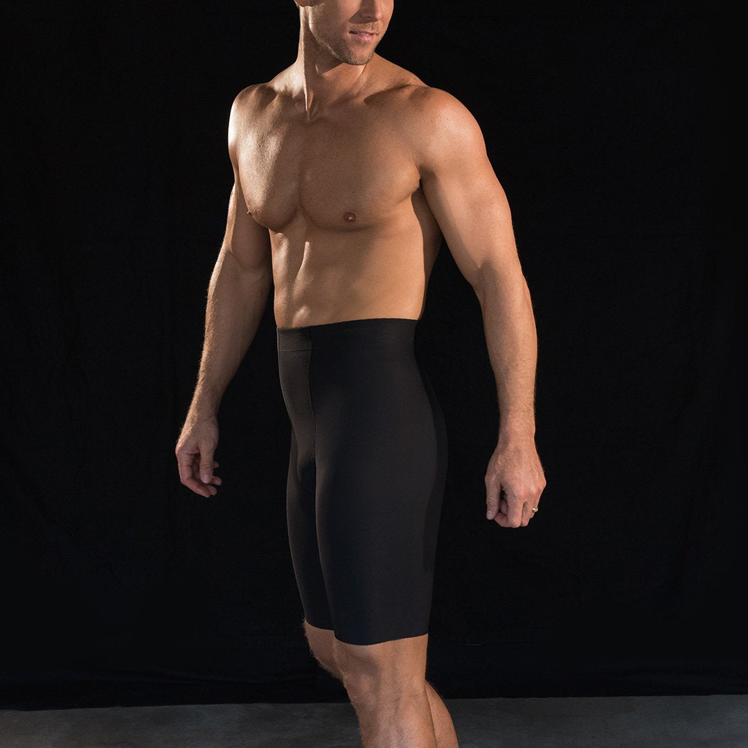 Marena Sport 625 Compression Shorts side pose, in black