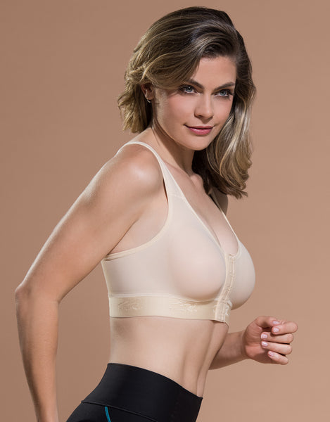 Marena Recovery B11 bra side view in beige.