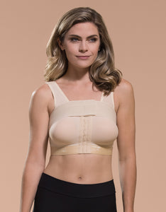 Marena Recovery B15 implant stabilizer bra front view in beige.