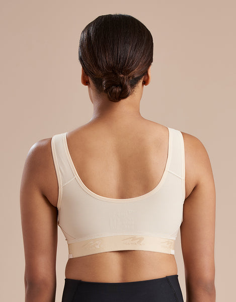 Marena Recovery B19 pocket bra back view in beige.