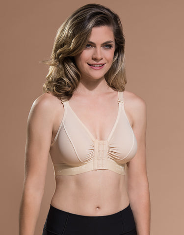 Marena Recovery BA bra front view in beige showing hook-and-eye closure.