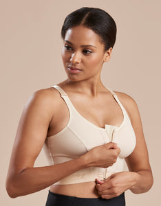 Marena Recovery BNRZ bra front view in beige showing zipper front closure.