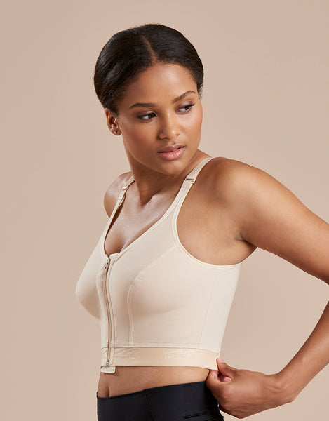 Marena Recovery BNRZ bra side view in beige showing side seams and comfort band.