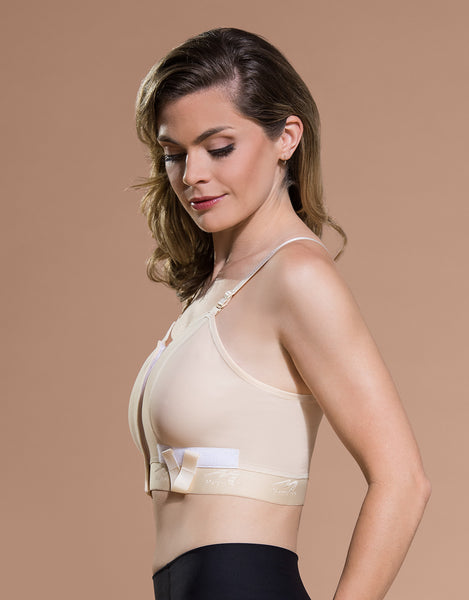 Marena Recovery BNVL bra side view in beige showing band with drain tube loops.