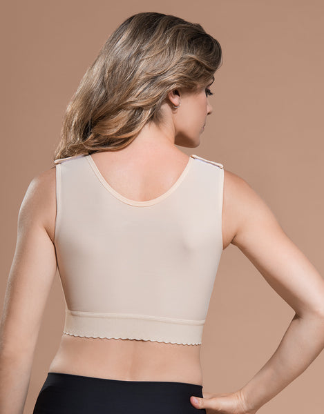 Marena Recovery BR bra back view in beige showing high back coverage.